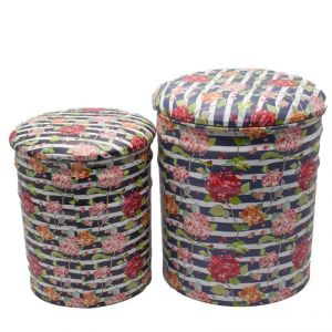 Puffy Stools Set Of 2 - Red/blue/white Strip
