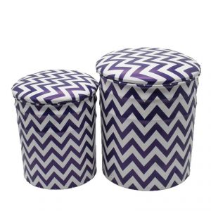 Puffy Stools Set Of 2 - White/blue