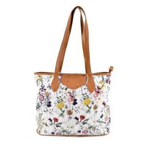 Fashinable White & Floral Handbag With Inner Smaller Mother Bag - White