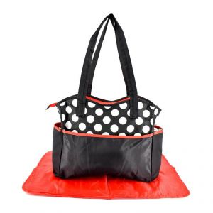 Mother Bag With Diaper Changing Mat - Black/red & White Dot