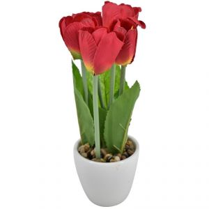 Artificial Potted Plants For Home Dcor - Red Flowers