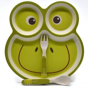 Eco Friendly Bamboo Fibre Kids Straw Feeding Set With Divider Plate - Frog/green