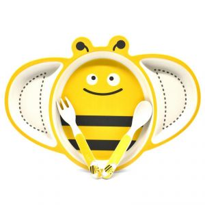 Eco Friendly Bamboo Fibre Kids Feeding Set With Divider Plate - Bee/yellow