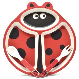 Eco Friendly Bamboo Fibre Kids Feeding Set With Divider Plate - Ladybug/red