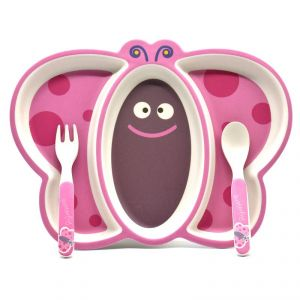 Eco Friendly Bamboo Fibre Kids Feeding Set With Divider Plate - Butterfly/pink
