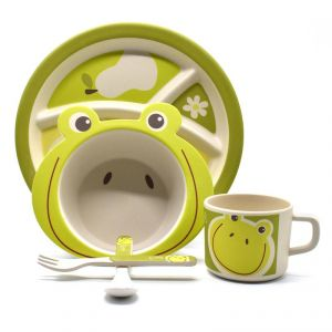 Eco Friendly Bamboo Fiber Kids Feeding Set Of 5 Pieces With Divider Plate - Green/frog