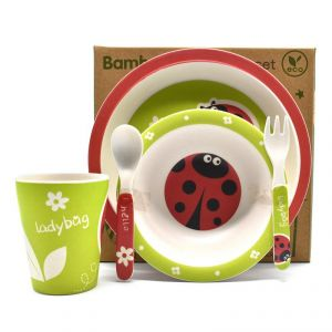 Eco Friendly Bamboo Fiber Kids Feeding Set Of 5 Pieces - Lady Bug/red