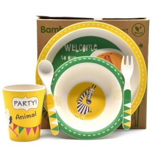 Eco Friendly Bamboo Fiber Kids Feeding Set Of 5 Pieces - Yellow