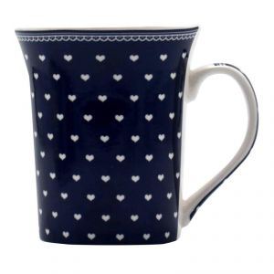 Dark Blue Colored Hearts Printed Ceramic Coffee Mug