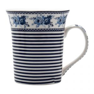 Floral Printed Blue And White Colored Ceramic Coffee Mug