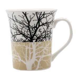 Black Printed White Colored Ceramic Coffee Mugs (Code - ART01450)