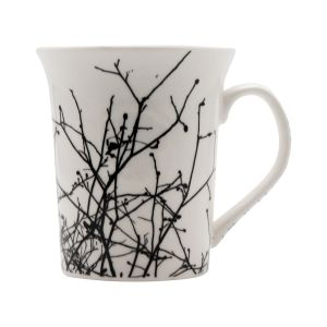 Black Printed White Colored Ceramic Coffee Mugs (code - Art01451)