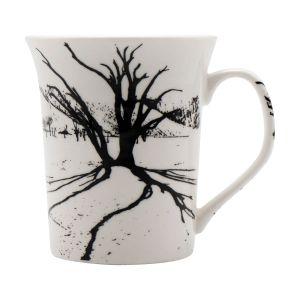Black Printed White Colored Ceramic Coffee Mugs (Code - ART01452)
