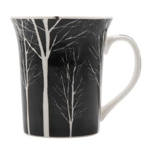 White Printed Black Colored Ceramic Coffee Mugs