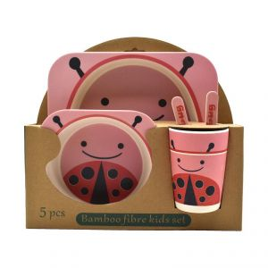 Eco Friendly Bamboo Fiber Kids Feeding Set Of 5 Pieces - Lady Bug Print