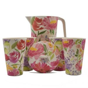 Crockery - Eco Friendly Bamboo Fibre Pitcher & Tumbler Set, 5 Pack - Floral Pink/Green Floral Print