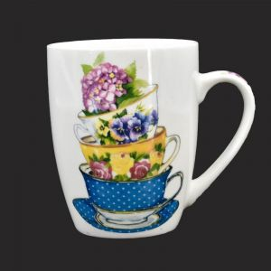 Ceramic Coffee Mug - Tea Cups Print