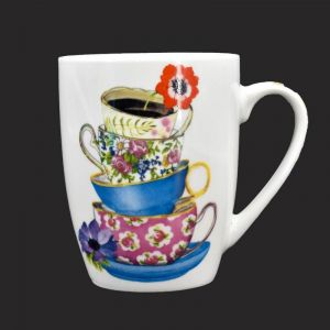 Ceramic Coffee Mug - Tea Cups With Red Flower Print