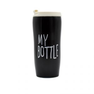 Ceramic Mug With Lids - My Bottle/black