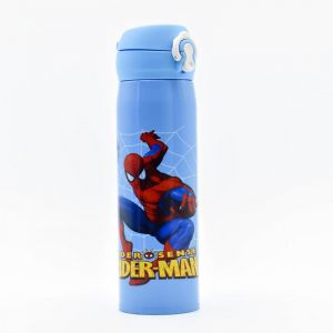 Stainless Steel Vacuum Flask Kids Sports Bottle, Blue, 500ml - Spider Man (assorted Print)