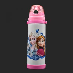 Stainless Steel Vacuum Flask Straw Sipper For Kids, White/pink, 500ml - Disney Frozen (assorted Print)
