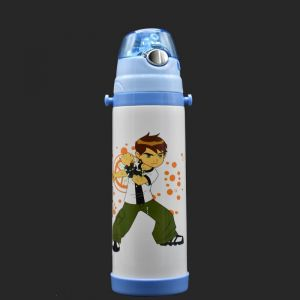 Stainless Steel Vacuum Flask Straw Sipper For Kids, White/blue, 500ml - Ben 10 (assorted Print)