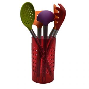 Cook Style Kitchen Tool Set With Acrylic Stand (set Of 7) - Red