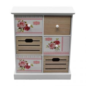 Mini Cabinet With Multi Drawer For Storage - Rose Print/light Brown
