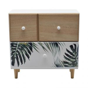 Mini Cabinet With Multi Drawer For Storage - Leaf Print