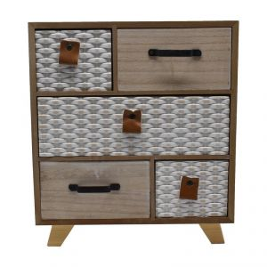 Mini Cabinet With Multi 5 Drawer For Storage -white/cream