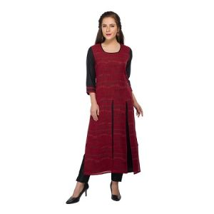Present Women Maroon Cotton Kurti ( Code-pc-3191-a)