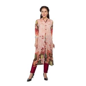 Present Women Peach Pure Crepe Kurti ( Code-pc-3082-a)