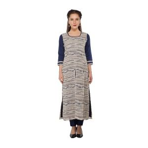 Present Women Navy Cotton Kurti ( Code-pc-3191-a1)