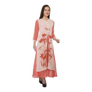 Present Women Orange Georgette Kurti ( Code-pc-3075-a)