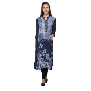 Present Women Blue Pure Crepe Kurti ( Code-pc-3123-f)
