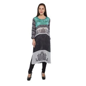 Present Women Black Pure Crepe Kurti ( Code-pc-3091)