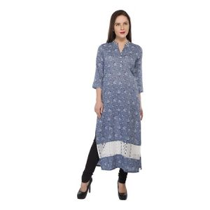 Present Women Blue Cotton Kurti ( Code-pc-3188-a)