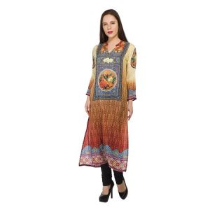 Present Women Multicolor Pure Crepe Kurti ( Code-pc-3072-b)
