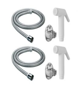 Shoppingekart Abs Ivory Health Faucet With 1 Meter S.s Tube And Wall Hook (pack Of 2) - (code -hf-2223)