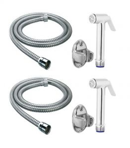 Shoppingekart Sleek Brass Health Faucet With 1 Meter S.s Tube And Wall Hook (pack Of 2) - (code -hf-2224)