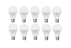 Shoppingekart Plastic Round Shaped White 12 Watt Super LED Bulb Pack Of 10 - (code -b-led50)
