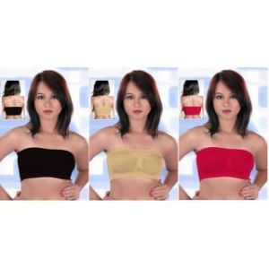 Combo Of 3 College Girl Seamless Strapless Bandeau Top Tube Bra Lingerie -