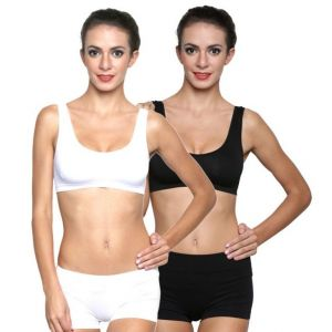 Wetex Premium Pack Of 2 Non-padded Sports Bra And Semless Panty Set( Black,white) Free Size (product Code - Air Bra & Panty-blk,wht)