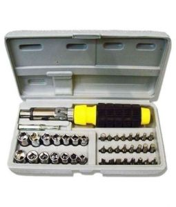 Autofurnish Yellow 41 PCs Tool Kit Foldable Screw Driver Set