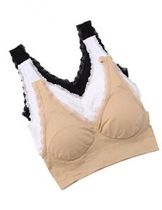 b49ea9b902 Vogue Of Eden Women s 3 Pack Stretchy Seamless Lace Sports Bra With  Removable Pads (black white nude)