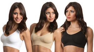Genie Bra 3-pack--white&black&nude, With Removable Pads Xx-large