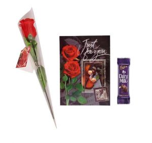 Indigo Creatives Love Gift Faux Red Rose With Musical Love Greeting Card And Cadbury Chocolate