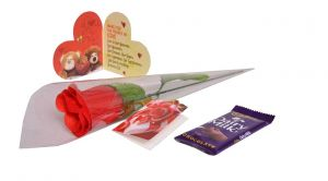 Indigo Creatives Love Gift Faux Red Rose With Love Greeting Card And Cadbury Chocolate