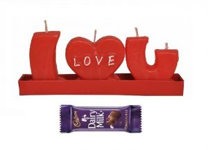 Indigo Creatives Gift Red I Love You Candle With Cadbury Chocolate