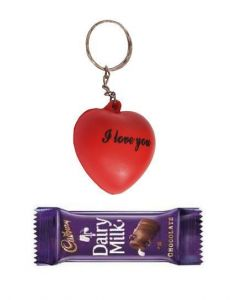 Indigo Creatives Love Gift Red Heart Shaped Keychain With Cadbury Chocolate